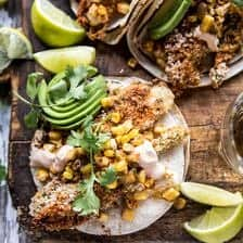 Cheesy Zucchini Roasted Corn Tacos With Mango Salsa Verde.