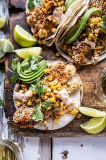 Cheesy Zucchini Roasted Corn Tacos With Mango Salsa Verde.