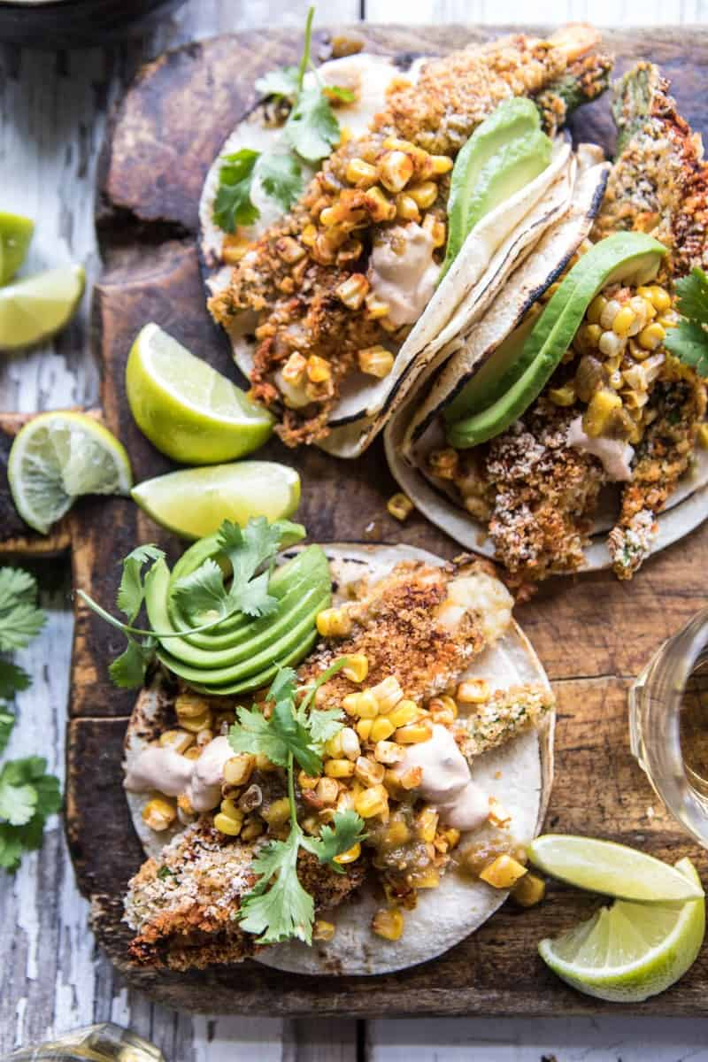 Cheesy Zucchini Roasted Corn Tacos With Mango Salsa Verde   halfbakedharvest.com @hbharvest