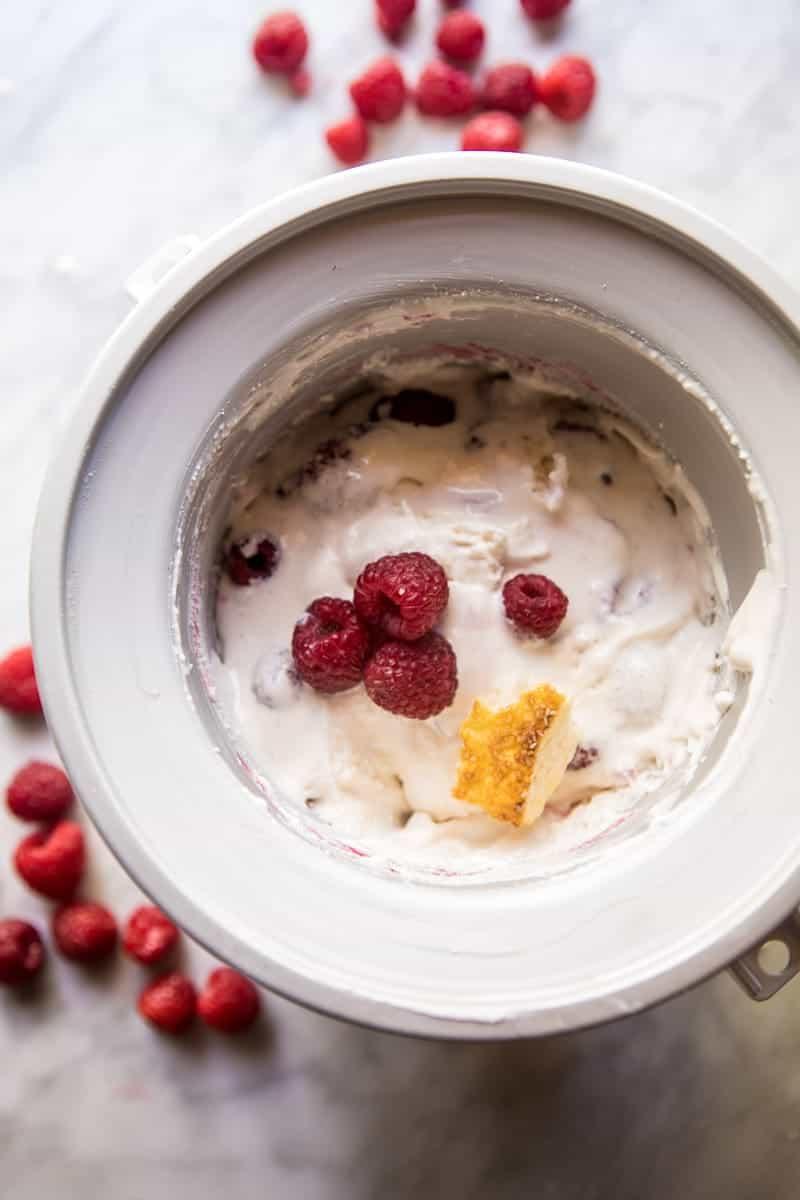 Easiest Raspberry Shortcake Ricotta Ice Cream | halfbakedharvest.com @hbharvest