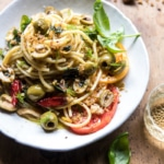 Garden Fresh Herb, Olive, and Parmesan Pasta with Pistachio Breadcrumbs.