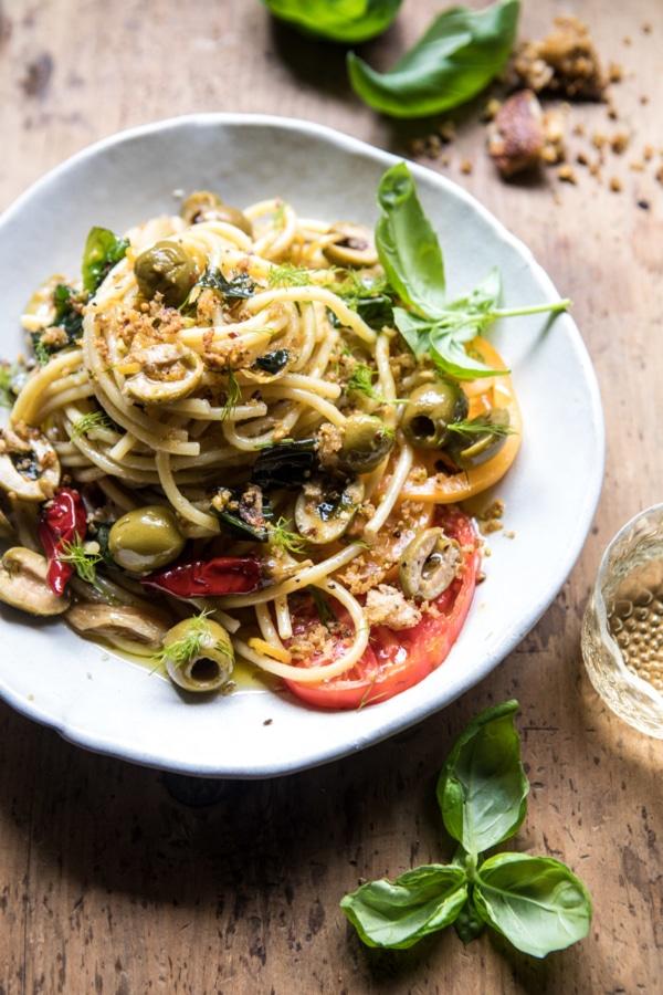 Garden Fresh Herb, Olive, and Parmesan Pasta with Pistachio Breadcrumbs   halfbakedharvest.com @hbharvest