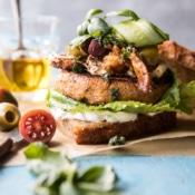 Greek Roasted Cauliflower Burgers with Pan Fried Feta and Tomato Olive Salsa.