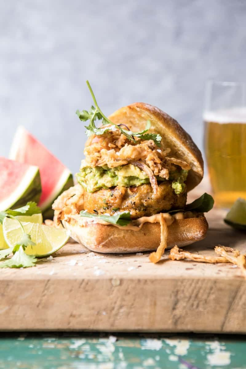 Jalapeno Cheddar Guacamole Turkey Burgers with Crispy Onions | halfbakedharvest.com @hbharvest