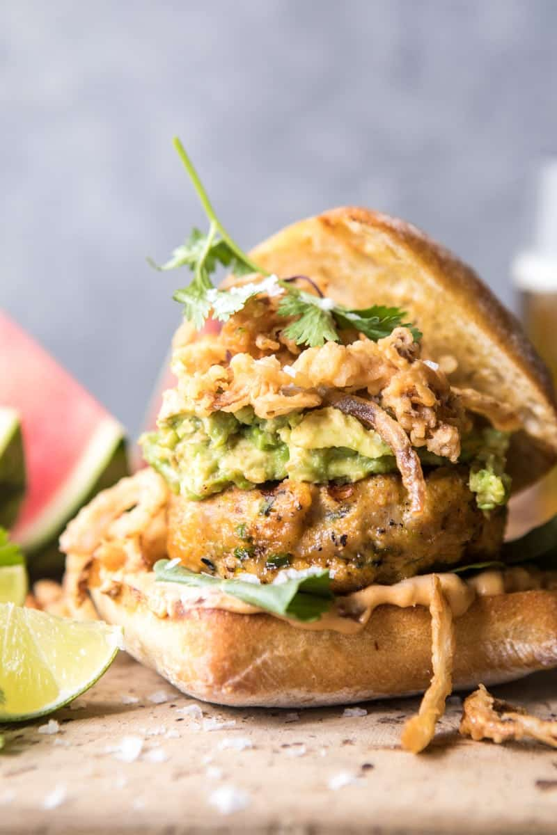 ... each burger with plenty of smashed avocado and crispy fried onions