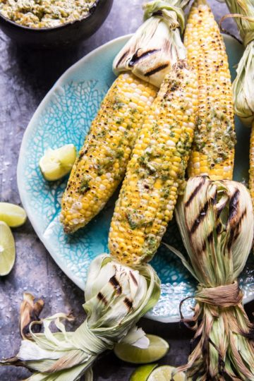 Mexican Grilled Corn with Green Chile Honey Butter.