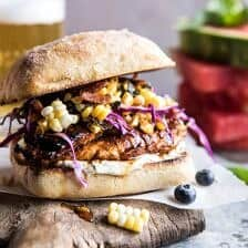 Spicy Maple Grilled Chicken Sandwich with Smoky Bacon Corn.