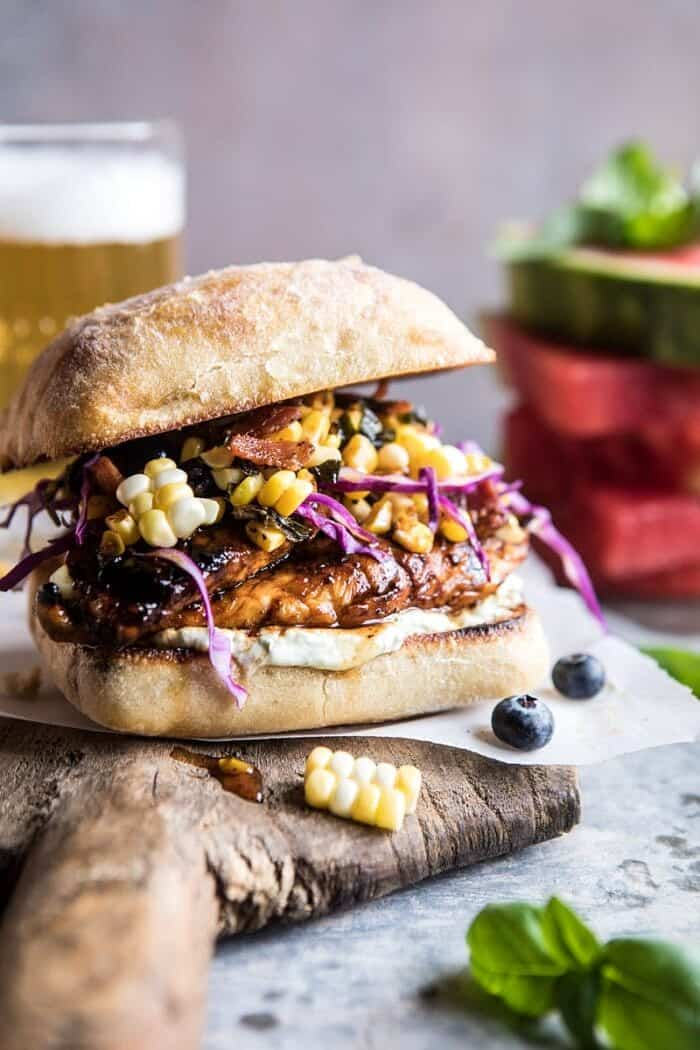 Spicy Maple Grilled Chicken Sandwich with Smoky Bacon Corn | halfbakedharvest.com @hbharvest