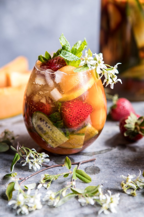 Strawberry Melon Elderflower Pimms Cup | halfbakedharvest.com @hbharvest