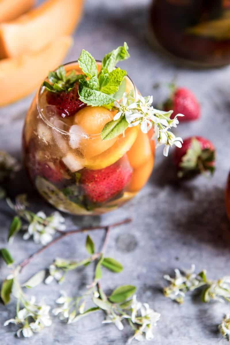 Strawberry Melon Elderflower Pimms Cup | halfbakedharvest.com @hbharvest
