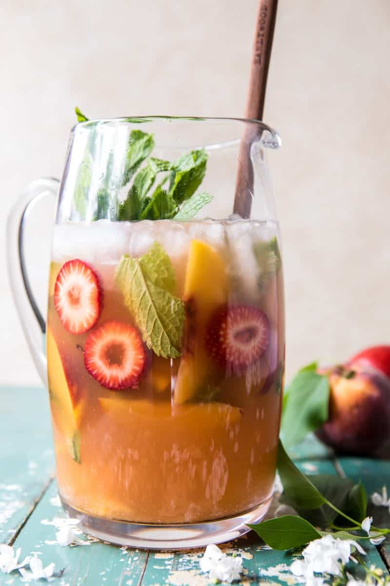 Strawberry Peach Sweet Tea Julep Pitcher | halfbakedharvest.com @hbharvest