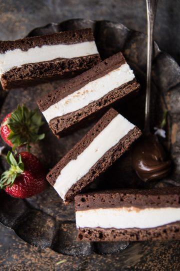 Tiramisu Brownie Ice Cream Sandwich Bars.
