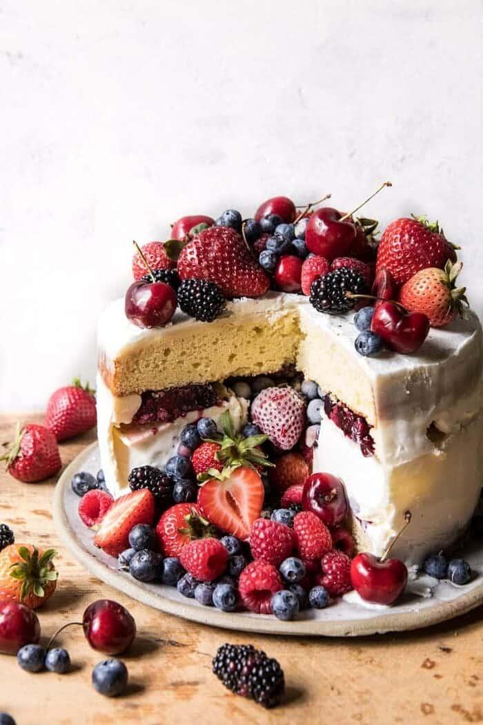 Triple Layer Roasted Berry Piñata Ice Cream Cake   halfbakedharvest.com @hbharvest