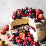 Triple Layer Roasted Berry Piñata Ice Cream Cake | halfbakedharvest.com @hbharvest