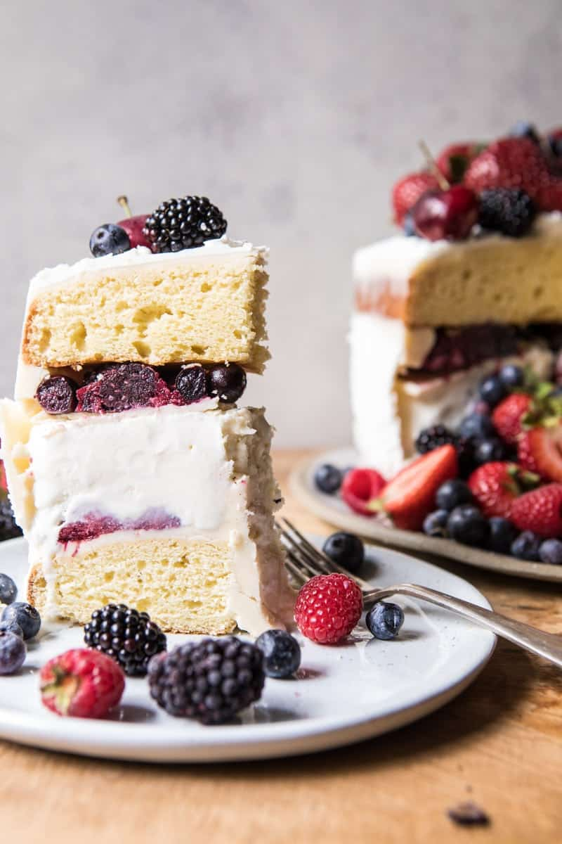Triple Layer Roasted Berry Piñata Ice Cream Cake | halfbakedharvest.com @hbharvest