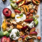 Tuscan Summer Stone Fruit, Tomato, and Burrata Panzanella Salad.