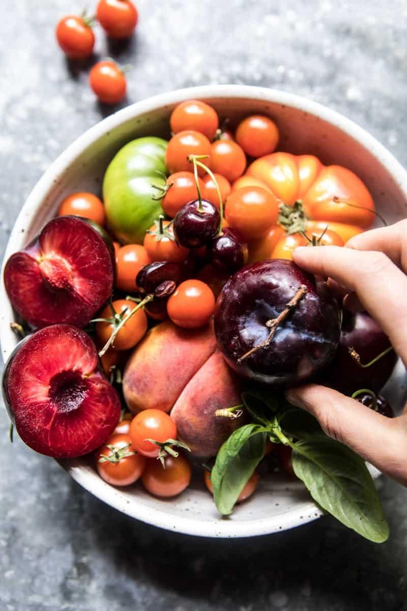 Tuscan Summer Stone Fruit, Tomato, and Burrata Panzanella Salad | halfbakedharvest.com @hbharvest