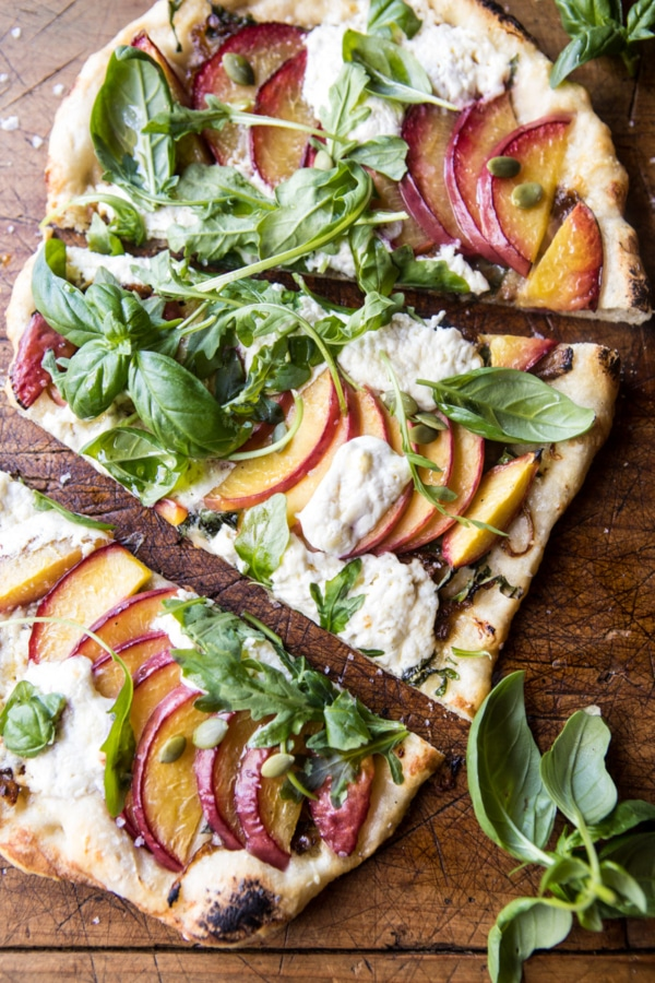Arugula Peach Ricotta Pizza with Crispy Bacon | halfbakedharvest.com @hbharvest