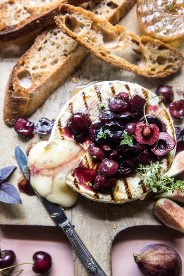Honey Thyme and Sweet Cherry Grilled Brie   halfbakedharvest.com @hbharvest