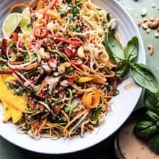 Rainbow Thai Basil Noodle Salad with Sesame Vinaigrette.