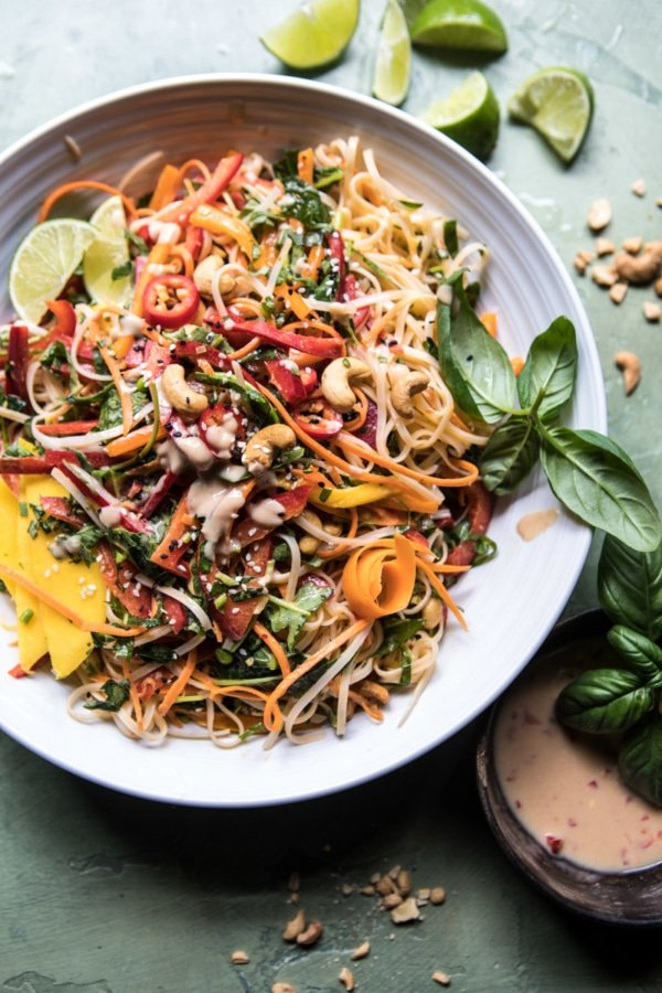 Rainbow Thai Basil Noodle Salad with Sesame Vinaigrette | halfbakedharvest.com @hbharvest