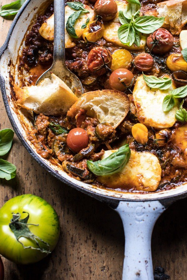 Summer Tomato and Zucchini Halloumi Bake | halfbakedharvest.com @hbharvest