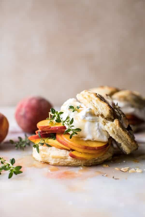 Sweet Peach Thyme Shortcakes | halfbakedharvest.com @hbharvest