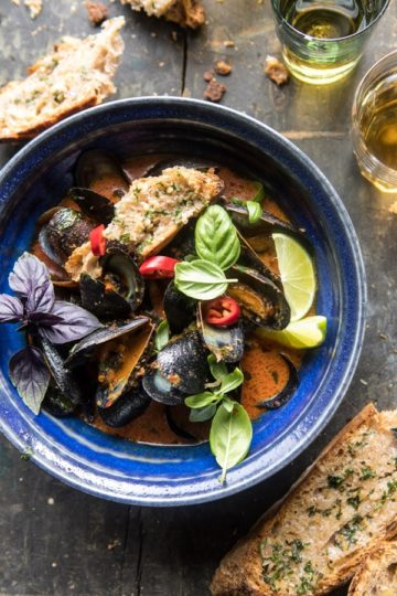 Thai Coconut Butter Mussels with Garlic Lemongrass Toast.