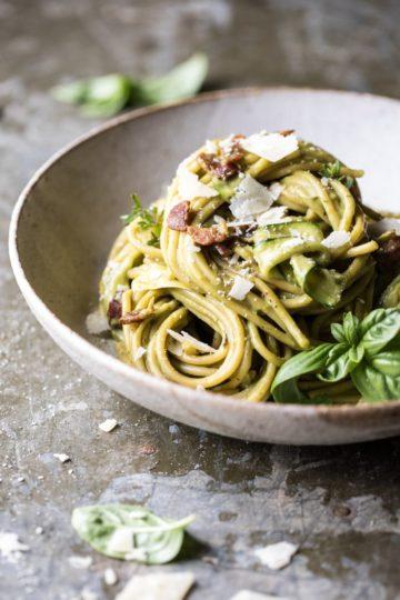 Avocado Zucchini Carbonara Pasta + Video