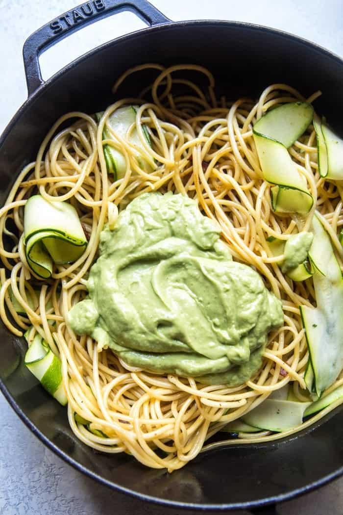 Avocado Zucchini Carbonara Pasta | halfbakedharvest.com @hbharvest
