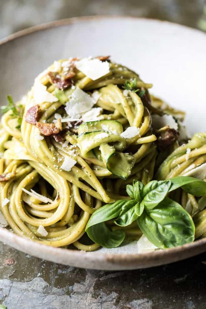 avocado zucchini carbonara pasta video half baked harvest. Black Bedroom Furniture Sets. Home Design Ideas