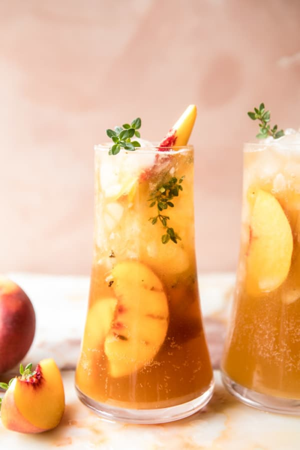 Gingered Peach Bourbon Thyme Smash.