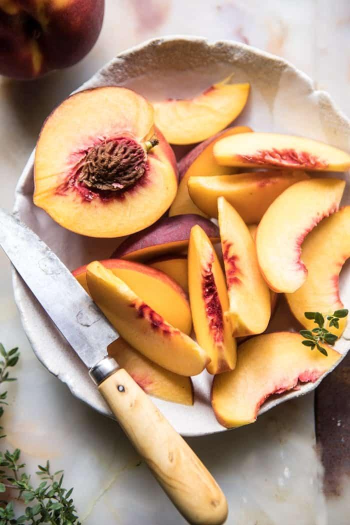 Gingered Peach Bourbon Thyme Smash | halfbakedharvest.com @hbharvest