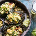 Lightened Up Salsa Verde Chicken Stuffed Poblano Peppers.