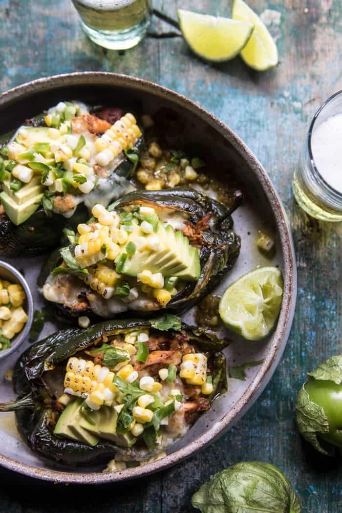 Lightened Up Salsa Verde Chicken Stuffed Poblano Peppers | halfbakedharvest.com @hbharvest