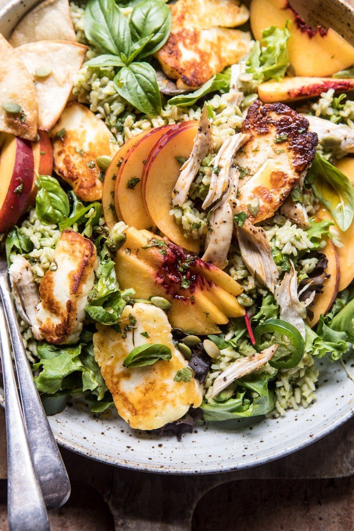 Peachy Chipotle Chicken Tortilla and Avocado Rice Salad with Pan Fried Halloumi | halfbakedharvest.com @hbharvest