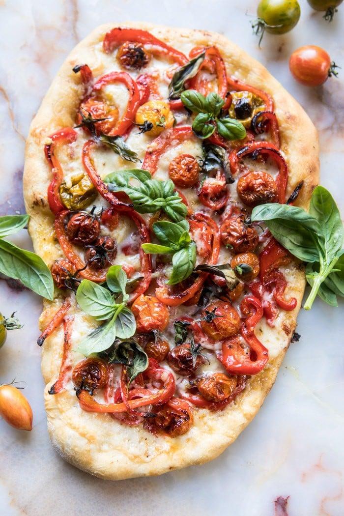 Pepper and Cherry Tomato White Pizza | halfbakedharvest.com @hbharvest