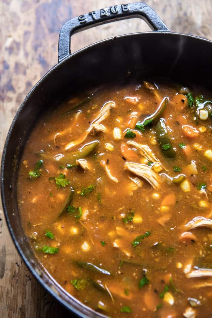 Poblano Corn Chicken Tortilla Soup | halfbakedharvest.com @hbharvest