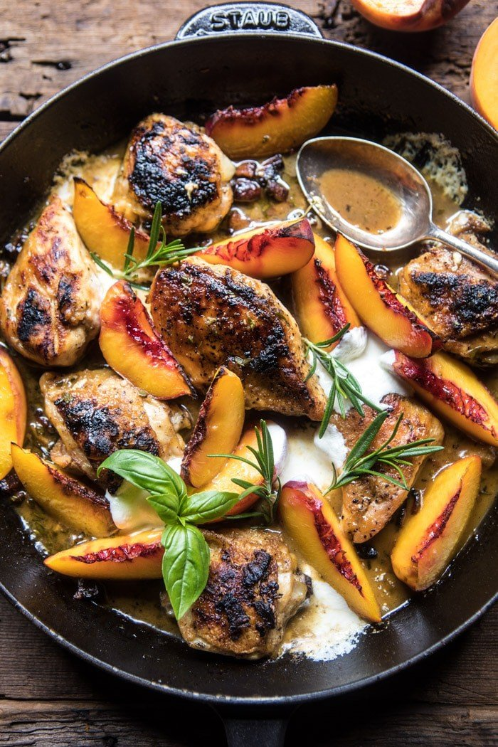 Rosemary Peach Chicken in a White Wine Pan Sauce | halfbakedharvest.com @hbharvest