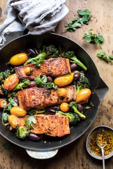 Sicilian Style Salmon with Garlic Broccoli and Tomatoes.