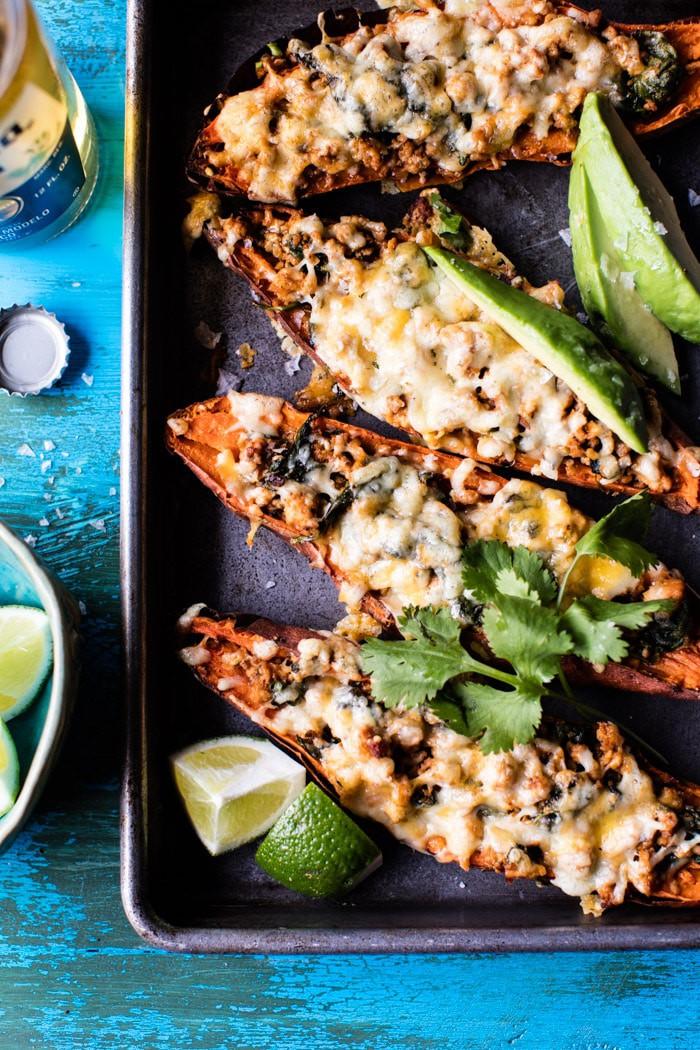 Healthy Chipotle Turkey Sweet Potato Skins | halfbakedharvest.com @hbharvest