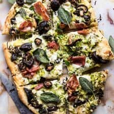 Brussels Sprout Mushroom Pizza with Crispy Prosciutto and Sage.