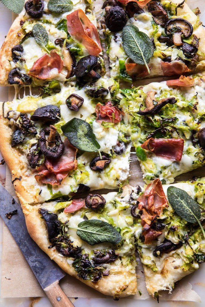 Brussels Sprout Mushroom Pizza with Crispy Prosciutto and Sage | halfbakedharvest.com @hbharvest