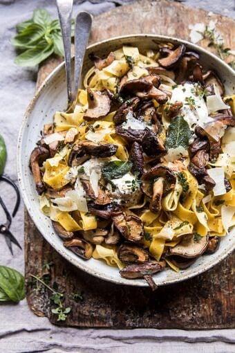 Herby Buttered Wild Mushroom Tagliatelle Pasta | halfbakedharvest.com @hbharvest