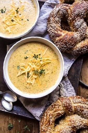 Pumpkin Beer Broccoli Cheddar Soup | halfbakedharvest.com @hbharvest