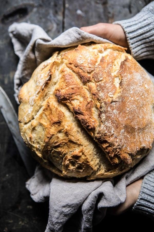 Cheaters No Knead Dutch Oven Sourdough Bread | halfbakedharvest.com @hbharvest