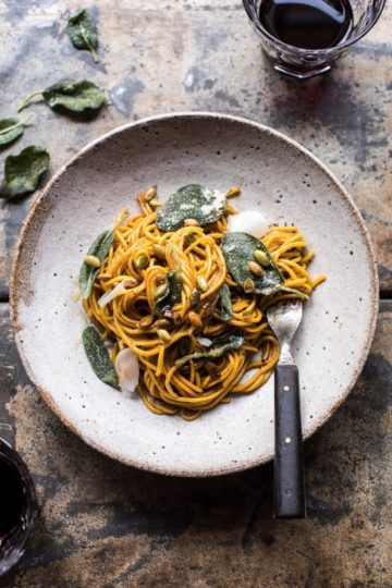 2 Ingredient Pumpkin Pasta with Balsamic Sage Brown Butter Sauce.