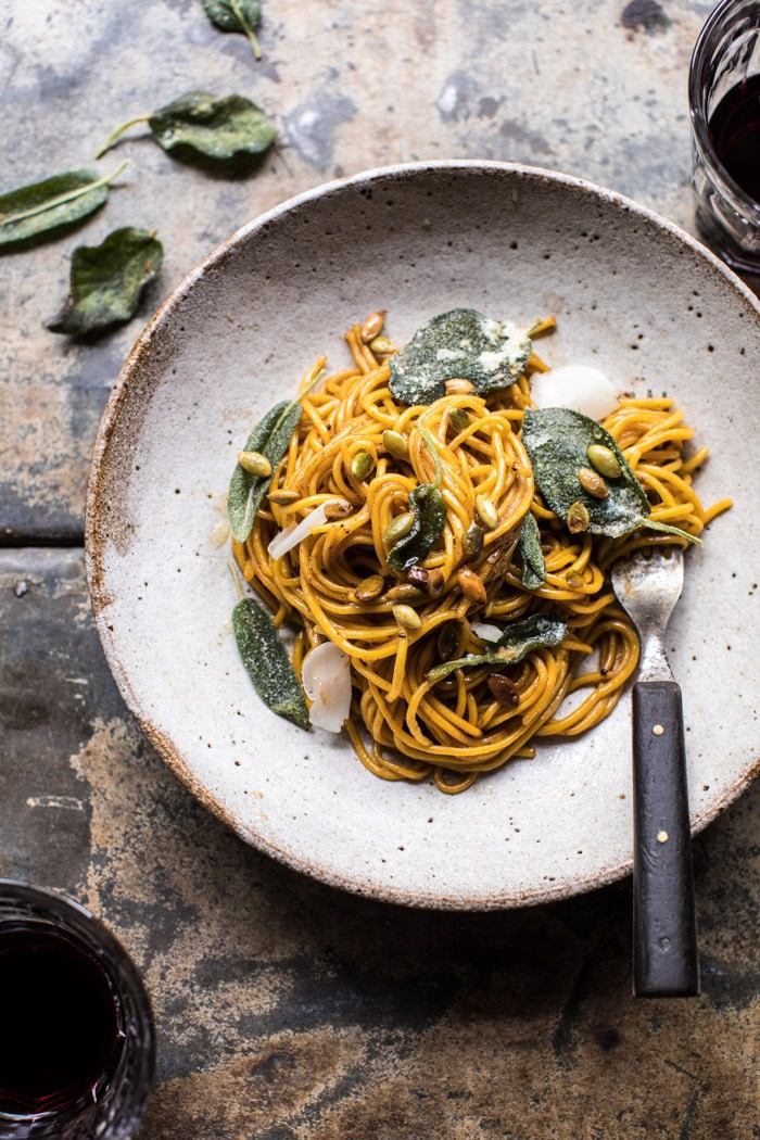 2 Ingredient Pumpkin Pasta with Balsamic Sage Brown Butter Sauce | halfbakedharvest.com @hbharvest