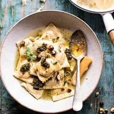 Butternut Squash Hazelnut Ravioli in Garlic Parmesan Broth.