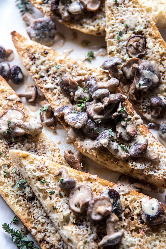 Caramelized Garlic Butter Toast with Pan Fried Mushrooms | halfbakedharvest.com @hbharvest
